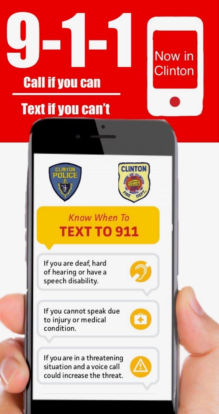 Text to 911, call if you can text if you can't